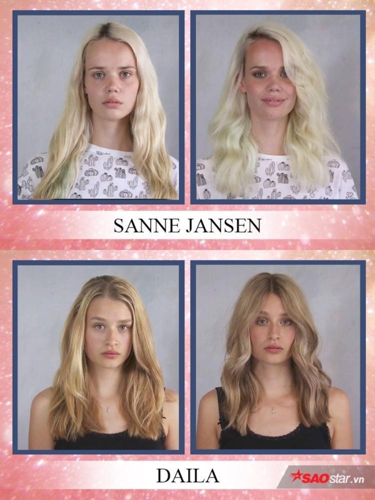 Ngược lại, các nhà tạo mẫu giữ nguyên màu và kiểu tóc của Sanne và Daila. Hai cô gái giống như… làm tóc tại nhà hơn là thi Next Top.