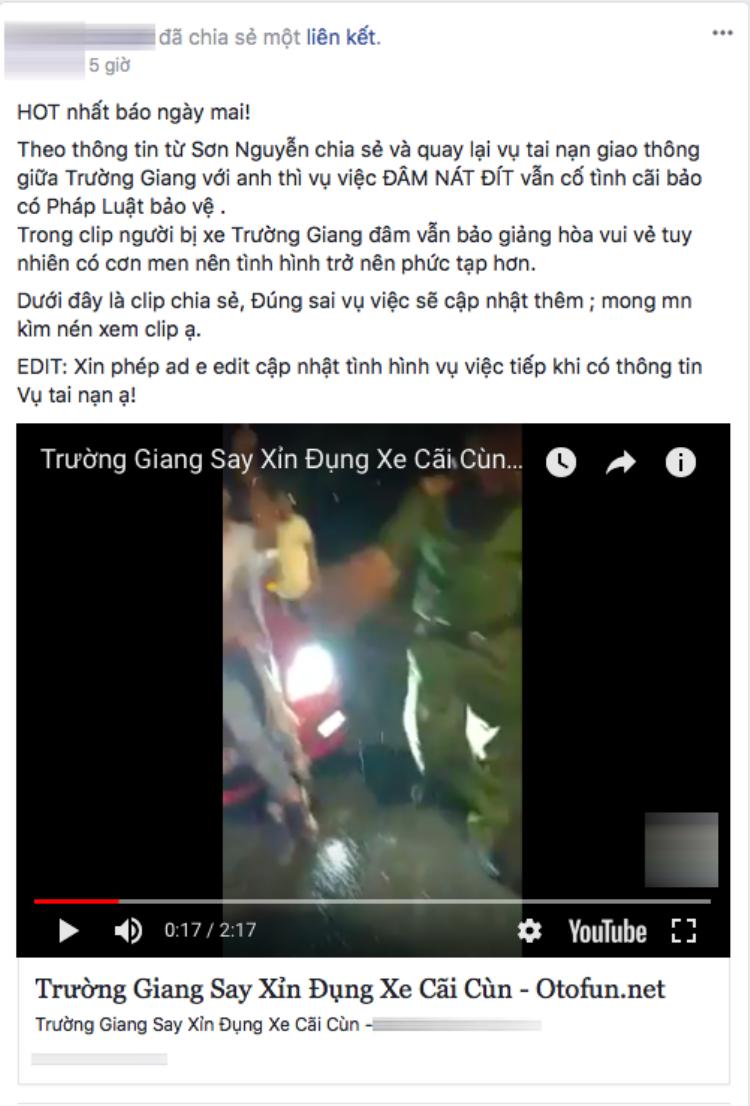Một tài khoản facebook chia sẻ clip nam danh hài Trường Giang được cho gây tại nạn giao thông vào nửa đêm thu hút sự quan tâm của cộng đồng mạng. (Nguồn: Phá đảo Showbiz)