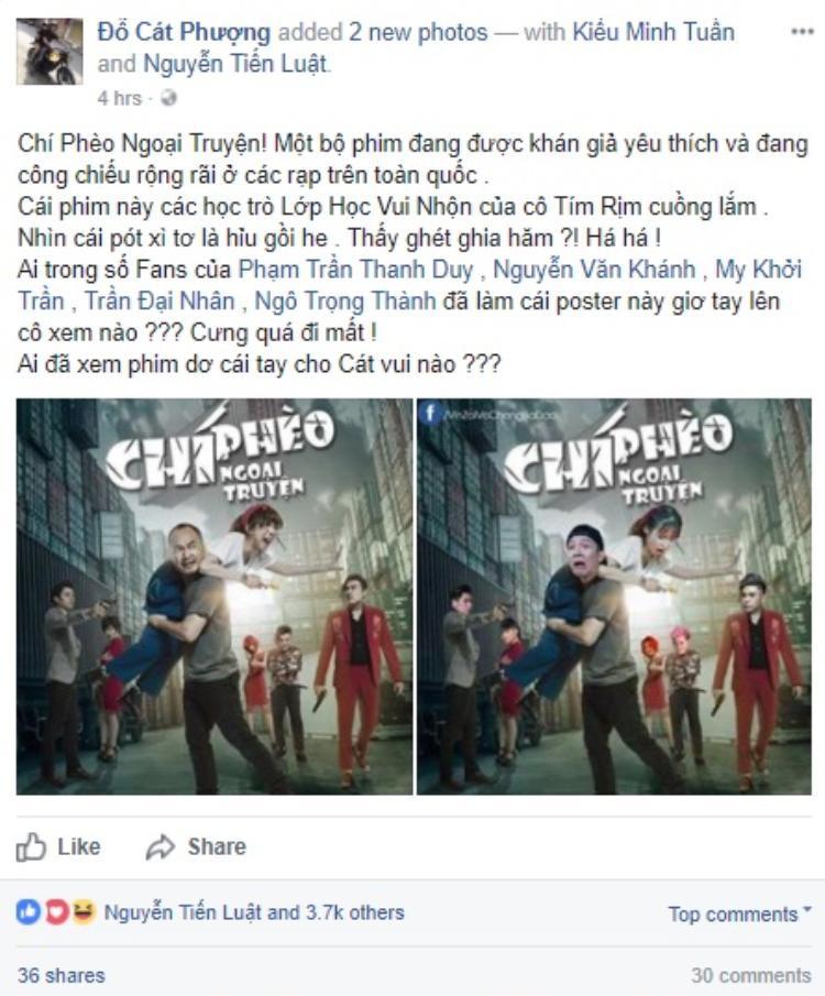 Nghệ sĩ Cát Phượng đăng tải lại với caption đầy thích thú, tag hẳn Kiều Minh Tuấn và Tiến Luật vào.