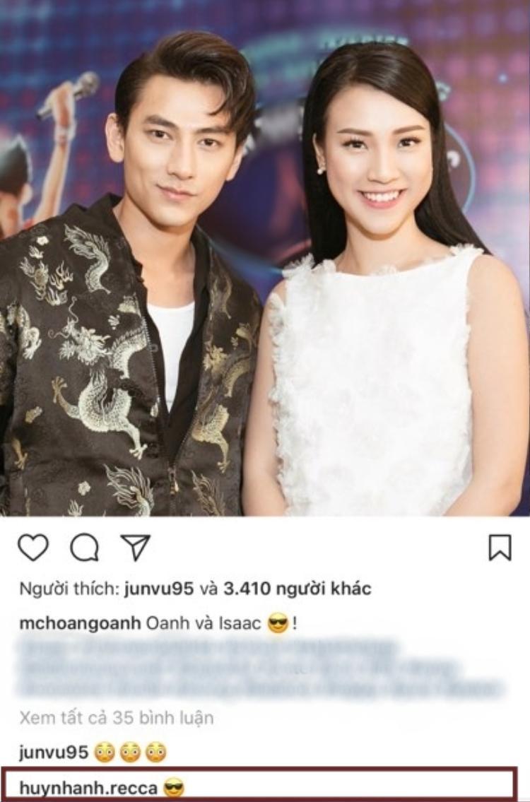 Huỳnh Anh vẫn theo dõi Instagram của Hoàng Oanh và thỉnh thoảng để lại bình luận.