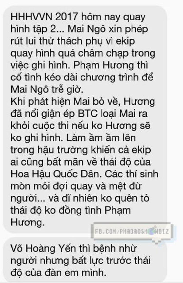 Đoạn tin nhắn tố cáo Phạm Hương và ê-kíp Hoa hậu Hoàn vũ Việt Nam 2017 lan truyền chóng mặt trên mạng. Nguồn ảnh: Phá đảo Showbiz.