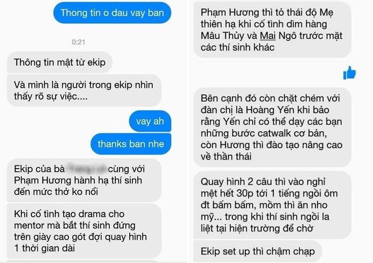 Phạm Hương bị tố chèn ép thí sinh, lên mặt với đàn chị Võ Hoàng Yến. Nguồn ảnh: Phá đảo Showbiz