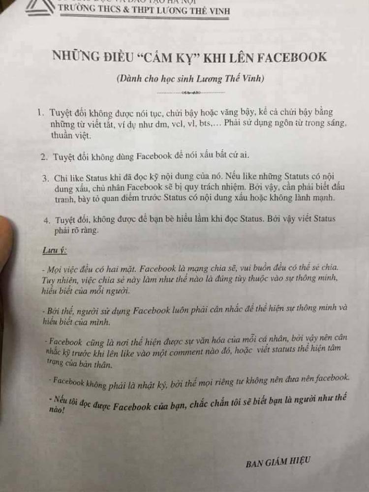 """Năm 2013, Trường THCS & THPT Lương Thế Vinh đã đưa quy định về những điều """"cấm kỵ"""" đối với học sinh khi lên facebook vào nội quy nhà trường."""