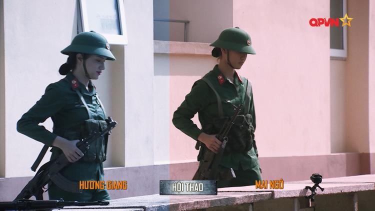 """Hương Giang và Mai Ngô """"đối đầu"""" trong nhiệm vụ tháo lắp súng."""