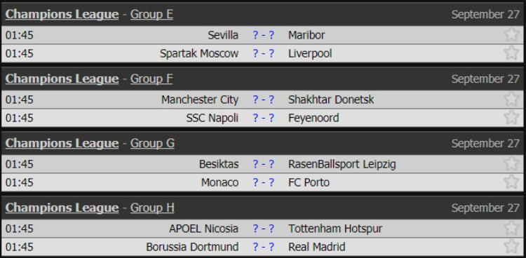 Lịch thi đấu UEFA Champions League các trận diễn ra rạng sáng 27/9.