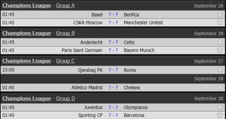 Lịch thi đấu UEFA Champions League các trận diễn ra tối 27/9 và rạng sáng 28/9.