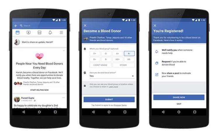 Đăng kí trở thành tình nguyện viên hiến máu trên Facebook.