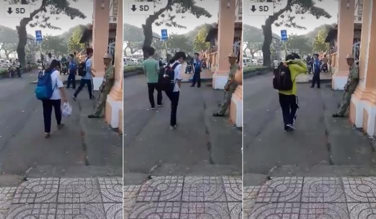 Hình ảnh đẹp ở Sài Gòn: Học sinh trường Lê Hồng Phong cúi đầu chào bác bảo vệ trước khi vô lớp