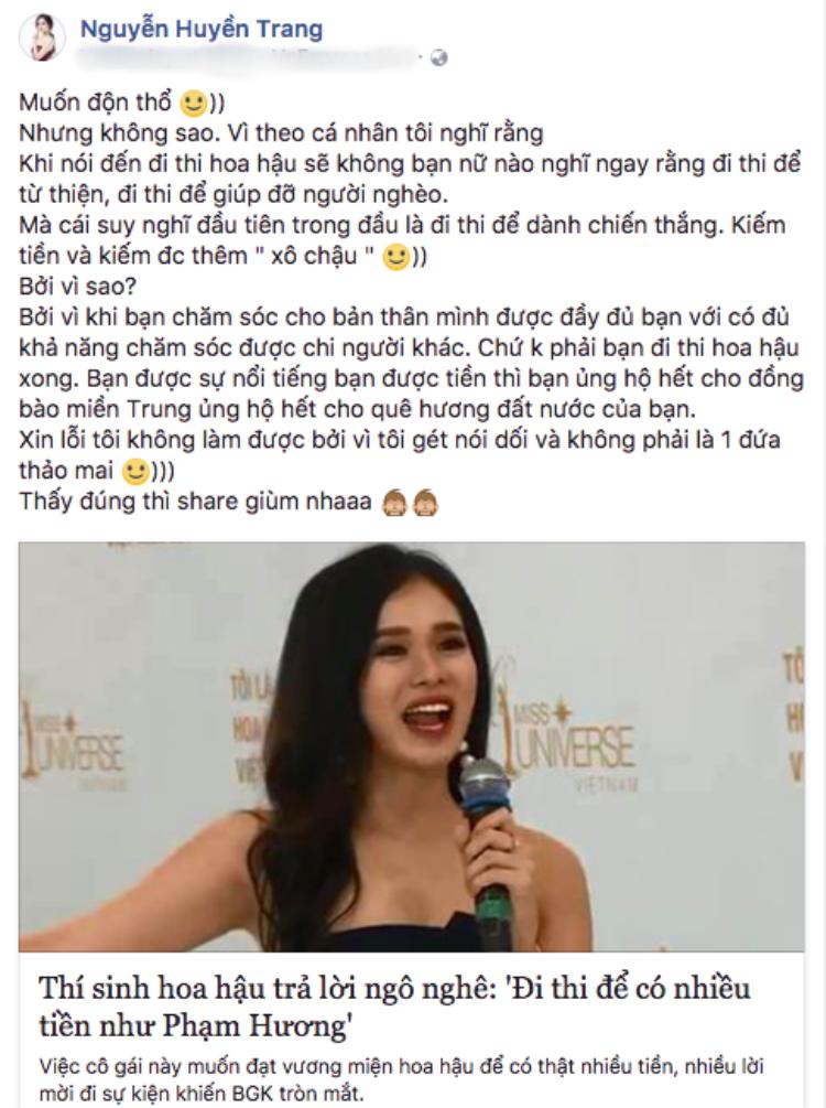 """Huyền Trang cho rằng cô chỉ nói thật và mong mọi người cũng """"sống thật"""" giống mình."""