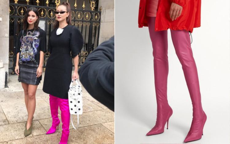 """Không biết có phải do """"lỗi photoshop"""" không mà màu sắc đôi boots lại có sự chênh lêch một trời một vực. Người không sành về thời trang cũng có thế thấy rõ, đôi boots mà Maya mang rộng thùng thình, không ôm sát chân như đặc tính vốn có của Knife Boots."""