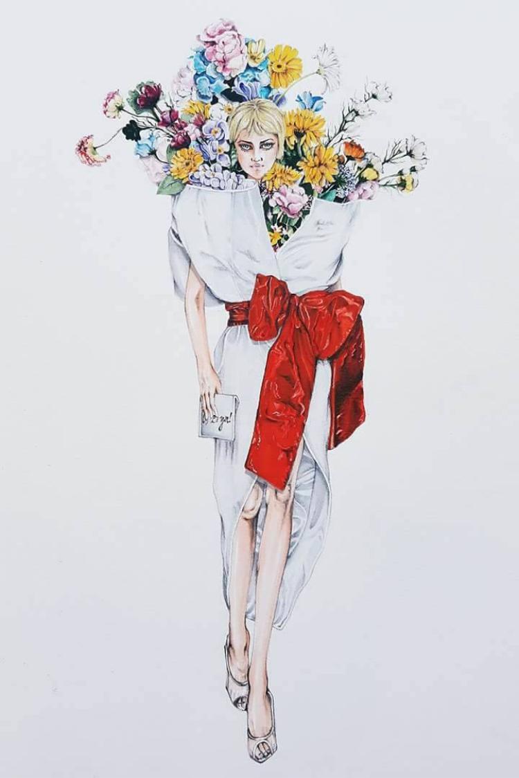 Mẫu thiết kế nổi tiếng của nhà mốt Moschino được minh hoạ qua nét vẽ của hoạ sĩ người Việt - Lâm Á Luân.