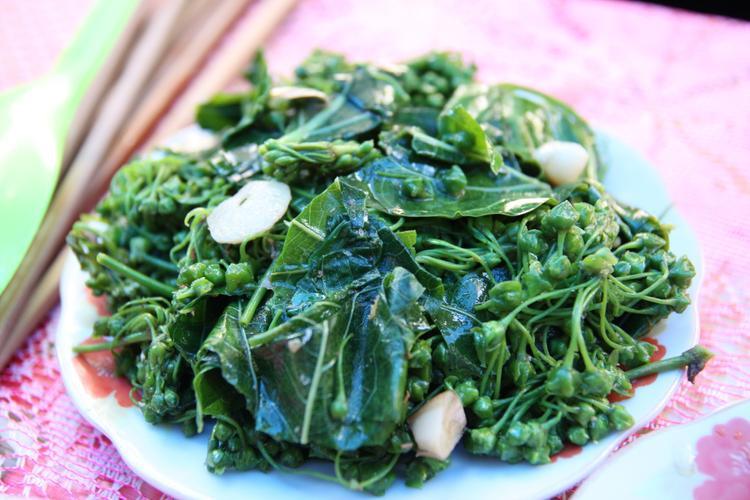 Đĩa rau ngón xào tỏi - món ngon được liệt vào hạng túy ẩm của người Lai Châu. Ảnh: Người đưa tin.