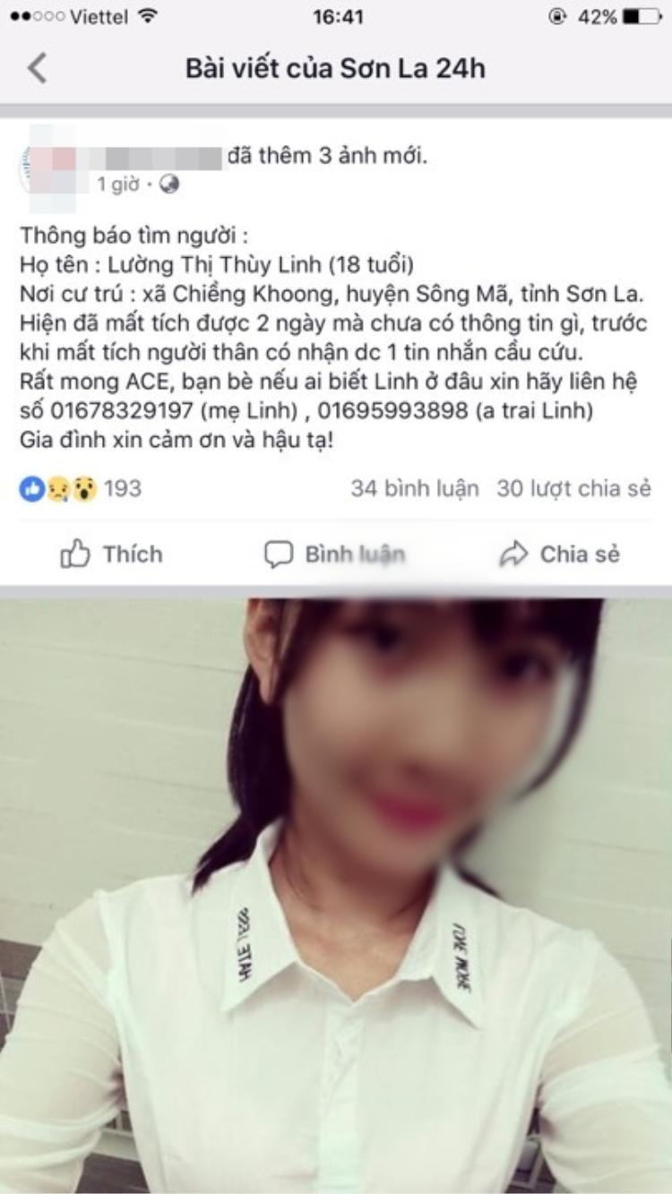 Thông tin Linh mất tích được chia sẻ trên MXH.