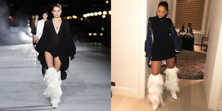 """Trang phục dạo phố """"cực ngầu"""" của nữ ca sỹ Rihanna với đôi boots ấn tượng của thương hiệu YSL"""