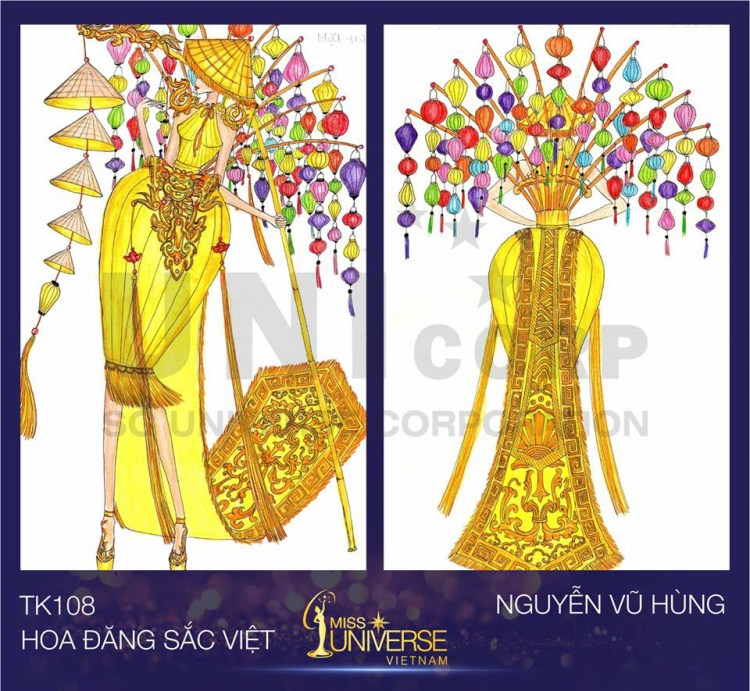 """Đèn lồng được mang lên bộ trang phục """"Hoa đăng sắc Việt"""" của Nguyễn Vũ Hùng."""