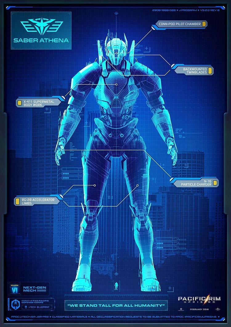 """Saber Athena: """"Jaeger tinh tế và thanh lịch nhất từng được tạo ra, Saber Athena có tốc độ nhanh nhất trong hạm đội, sử dụng lưỡi dao kép cùng khả năng siêu nhào lộn."""""""