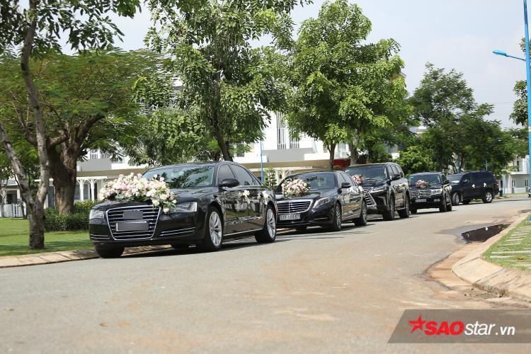 """Cận cảnh dàn xe """"khủng"""" hơn 10 chiếc trong lễ rước dâu của hoa hậu Đặng Thu Thảo."""