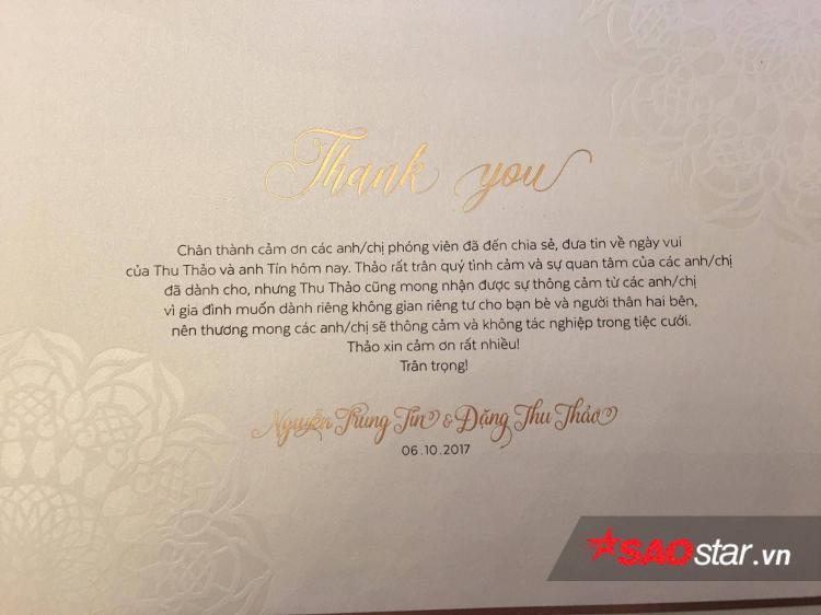 Trước giờ tiệc cưới tối nay: Đặng Thu Thảo lịch sự gửi thiệp từ chối khéo cho phóng viên tác nghiệp đám cưới!