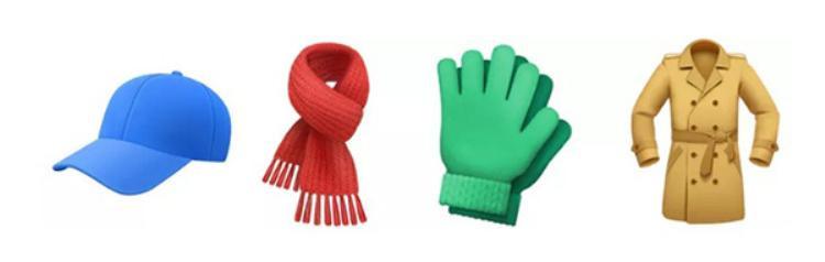 Đang là mùa Thu và sắp tới mùa Đông, vì thế Apple đã chuẩn bị cho bạn những emoji cần thiết cho mùa lạnh giá bao gồm nón lưỡi trai, găng tay, khăn len và cả áo khoác nữa.