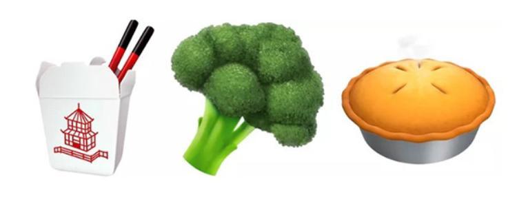 Những emoji thức ăn được bổ sung thêm món ăn Trung Hoa cùng với món bông cải xanh trứ danh và một chút bánh táo nhẹ nhàng.