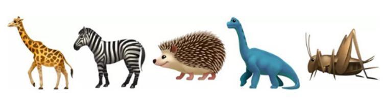 Phần emoji động vật sẽ được bổ sung thêm hươu cao cổ, ngựa vằn, nhím, khủng long cổ dài và cả côn trùng như dế mèn.