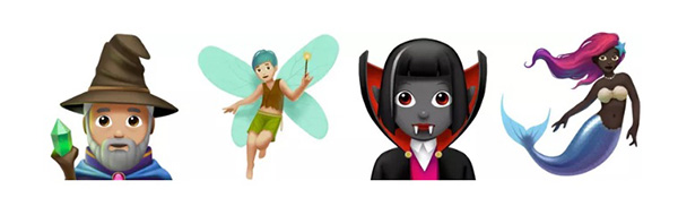 Những emoji thần tiên có lẽ là phần thú vị nhất khi những nhân vật như thầy phù thủy, hậu duệ của Tinker Bell hay Dracula hoặc nàng tiên cá thật đáng yêu với nước da đen bóng và mái tóc hồng tím cá tính.