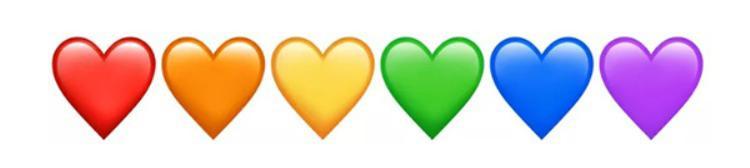 """Hội emoji hình tim được bổ sung thêm màu cam mới. Vậy là nếu không phân biệt giữa chàm và tím thì emoji tim đã có đủ bảy sắc cầu vồng cho bạn tha hồ mà """"thả tim""""."""
