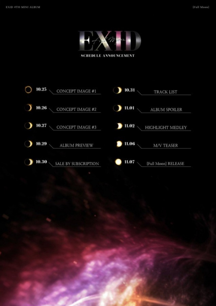 """EXID sẽ phát hành mini album thứ tư vào ngày 7/11 mang tên Full Moon và """"thả thính"""" fan với hình ảnh """"nhá hàng"""" lịch trình comeback vào tháng tới."""