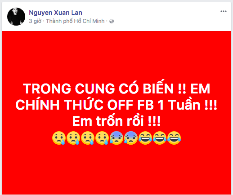 """Dòng trạng thái thông báo """"off facebook 1 tuần"""" của siêu mẫu Xuân Lan."""