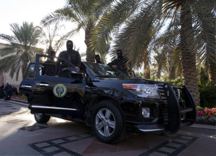Các vệ sĩ bên ngoài cung điện Erga, có nhiệm vụ bảo vệ an toàn cho thành viên gia đình hoàng gia.