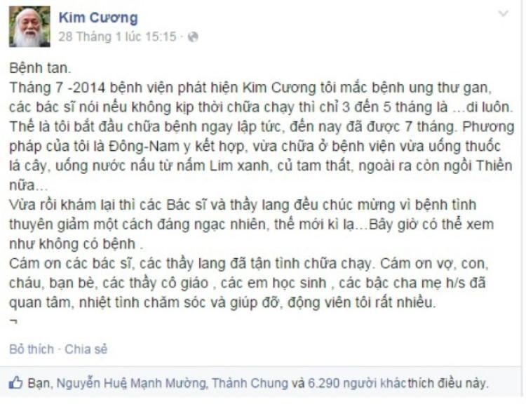 Chia sẻ về tình hình bệnh tình của thầy Cương hồi năm 2014.