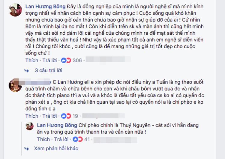 NSND Lan Hương khá bức xúc trên Facebook cá nhân.