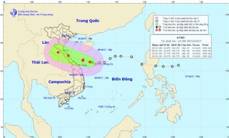 Vị trí đường đi của Áp thấp nhiệt đới có nguy cơ mạnh lên thành bão.