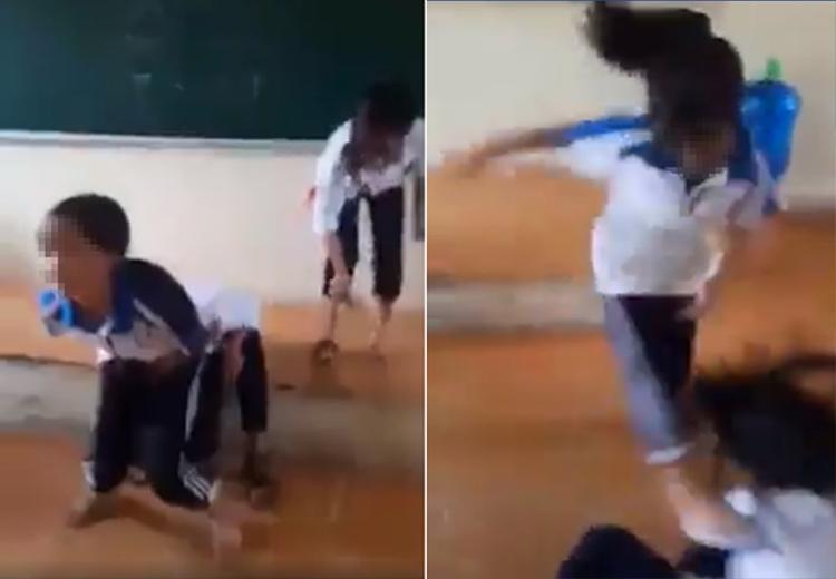 Hình ảnh nữ sinh đánh nhau ngay tại lớp học. Ảnh cắt từ clip.