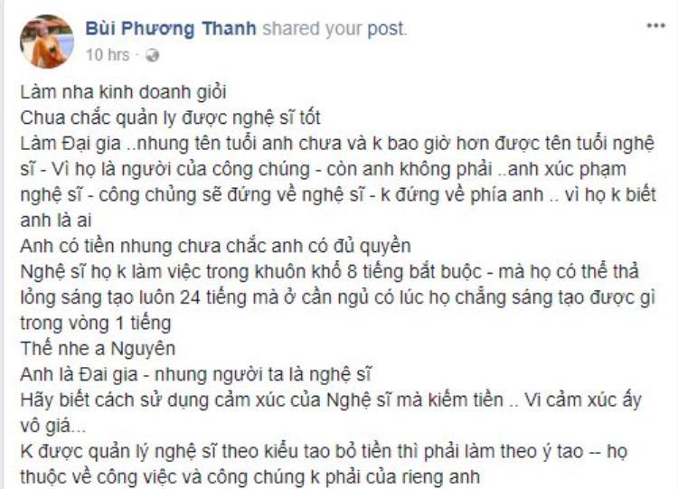 Chia sẻ của ca sĩ Phương Thanh.