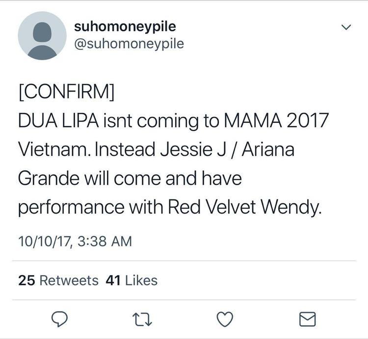 """1 tài khoản không rõ nguồn gốc khẳng định màn kết hợp """"bùng nổ"""" sẽ diễn ra tại Việt Nam trong tuần lễ trao giải MAMA 2017."""