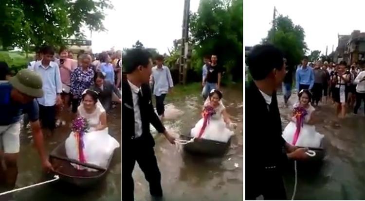 Dân làng hò reo khi xem đám cưới em gái mưa với màn rước dâu bằng xuồng