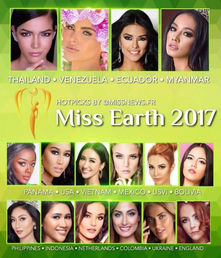 Đại diện Việt Nam liệu có tên trong Top 10 Miss Earth 2017.