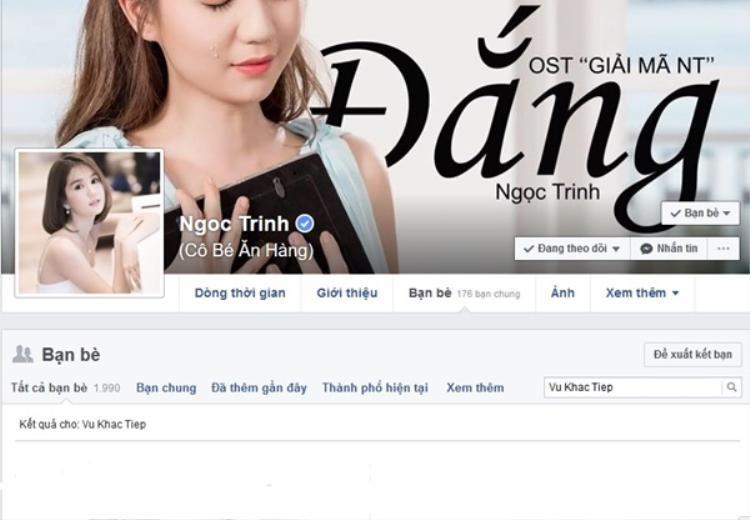 Ngọc Trinh và Vũ Khắc Tiệp không còn kết bạn Facebook với nhau.