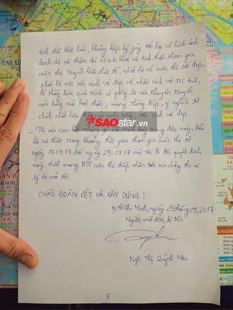 Toàn bộ nội dung bức thư Mai Ngô chia sẻ về lý do bỏ thi.