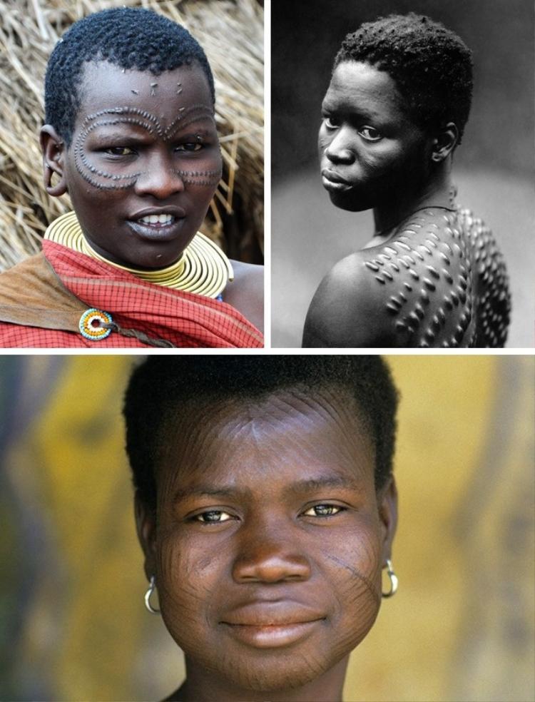 """Cư dânNew Guinea và một số nước châu Phi khác thường tự làm đẹp cơ thể bằng các vết sẹo nghệ thuật. Những vết sẹo này thường dành cho nam giới trong nghi lễ kết nạp, trong khi đó những """"hình xăm"""" được coi là đặc trưng cho vẻ đẹp nữ giới."""