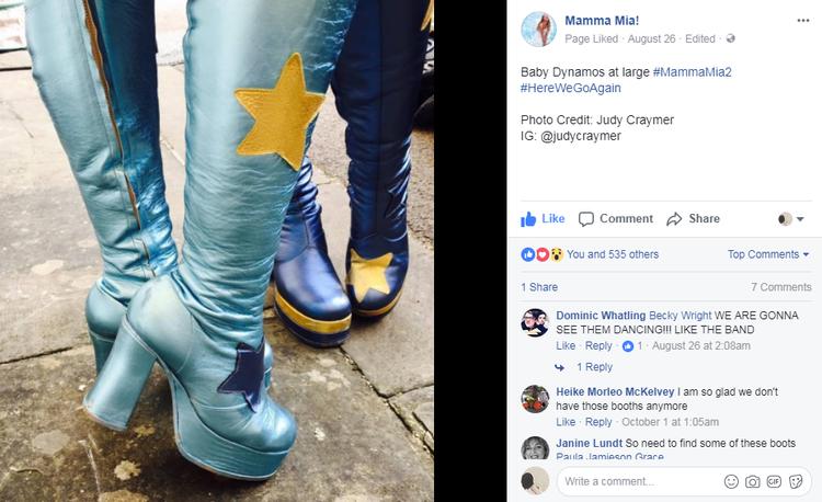 Hình ảnh đôi bốt tương tự từng được đăng tải trên Facebook của Mamma Mia!