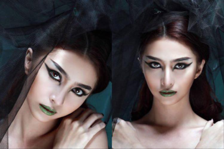Ca sĩ Việt My cũng từng gây ấn tượng với kiểu trang điểm ma mị nhưng đầy thu hút với đôi môi xanh lá lấp lánh.