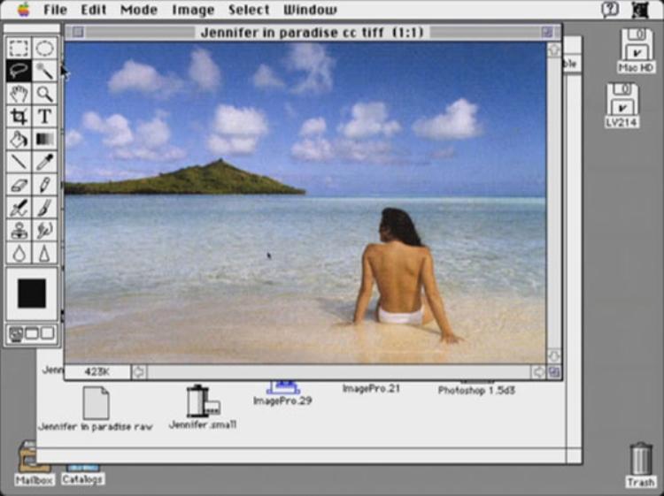 Giao diện những phiên bản đầu tiên của Photoshop.