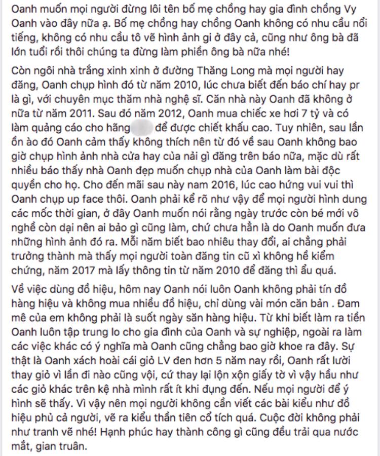 Dòng trạng thái đính chính của Vy Oanh trên mạng.