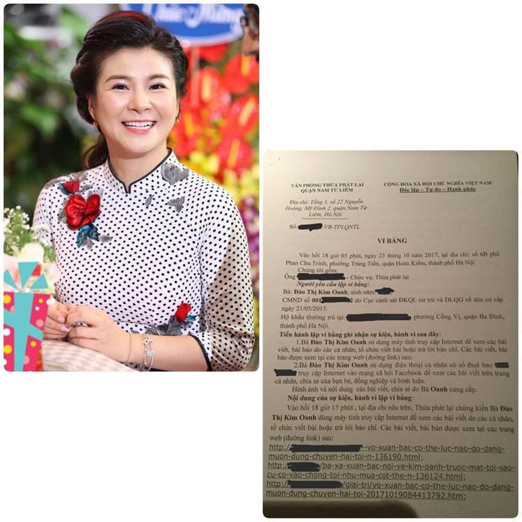 Kim Oanh đăng tải biên bản làm việc giữa cô và các cơ quan có thẩm quyền.