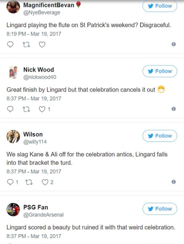 """Phản ứng của CĐV ở mùa trước (từ trên xuống): """"Lingard thổi sáo ở St Patrick cuối tuần? Thật đáng xấu hổ"""", """"Lingard dứt điểm thật đẹp, nhưng trò ăn mừng đó thì bỏ đi"""", """"Chúng ta từng ép Kane và Ali từ bỏ cách ăn mừng cũ của họ, thật dã man là Lingard cũng cùng một giuộc"""", """"Lingard ghi một bàn tuyệt đẹp nhưng hủy hoại nó bằng màn ăn mừng kỳ quái""""."""