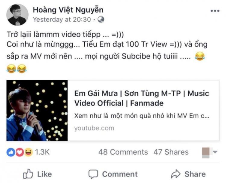 Bằng chứng từ cậu em trai cho thấy Sơn Tùng sắp ra MV mới.