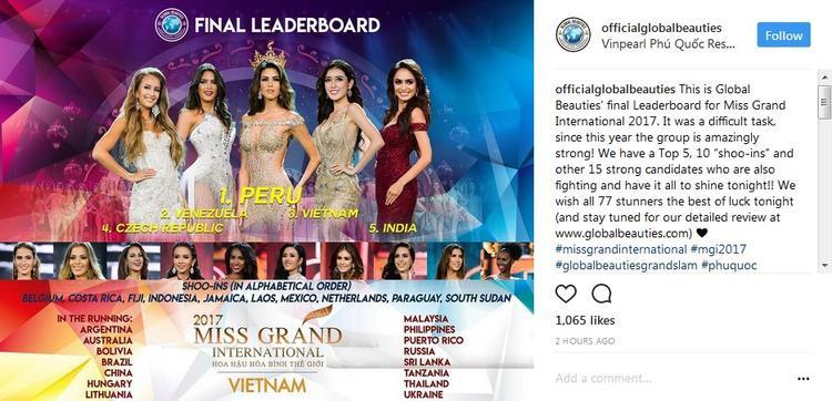 Global Beauties vừa công bố bảng xếp hạng Top 15 của đêm chung kết Hoa hậu Hòa bình Thế giới 2017.