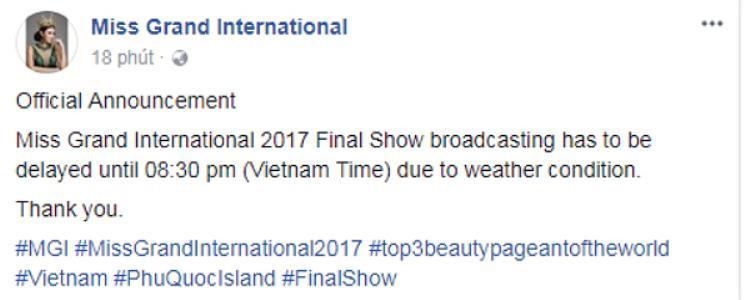 Thông báo hoãn giờ bắt đầu đêm chung kết của BTC trên fanpage chính thức.